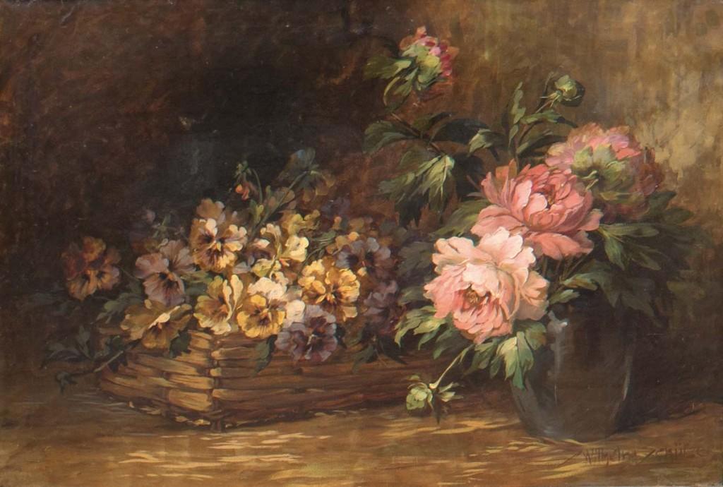 WILHELM SCHÜTZE (1840 München-1898 Kaufbeuen) - Großes Blumenstilleben mit Stiefmütterchen und Pfingstrosen, Öl/Lwd., signiert Limit: 650 EUR