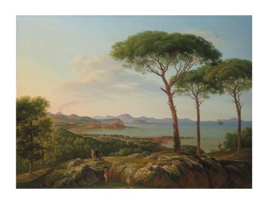 Prosper François Irénée Barrigue(馬賽1760-1850)的作品《 Vue du Golfe de Naples et de la ville de Pouzzoles》描述遠眺義大利拿坡里灣和波佐利城市