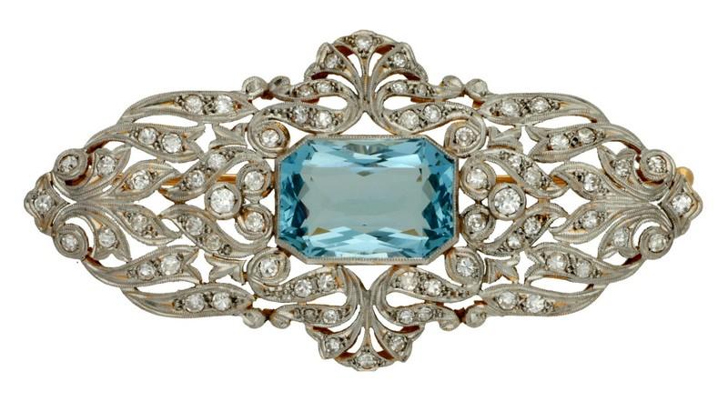 Broche de estilo Belle Époque en oro, platino y diamantes
