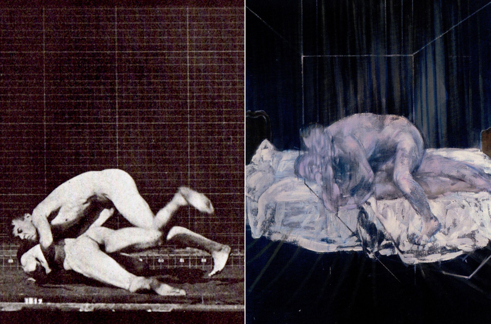Edward Muybridge, 'Wrestlers', c. 1880's. & Francis Bacon, 'Two Figures', 1953. Photo: Pinterest