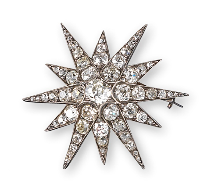 Broche diamants Woolley & Wallis