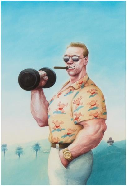 MANFRED DEIX (1949 St. Pölten - 2016 Klosterneuburg) - Arnold Schwarzenegger, Aquarell, 40 x 28 cm, Originalbild des Buchcovers Arnold Schwarzenegger, Die nackte Wahrheit, 2007 Schätzpreis: 8.000-12.000 EUR Rufpreis: 5.000 EUR