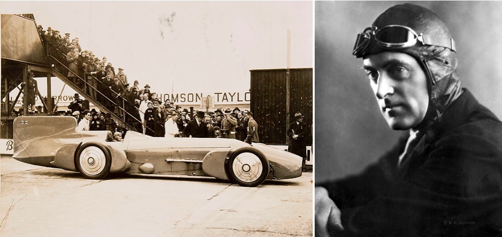 "Links: Der Campbell-Napier-Railton ""Blue Bird"" von 1931   Rechts: Sir Malcolm Campbell   Fotos via Wikipedia"