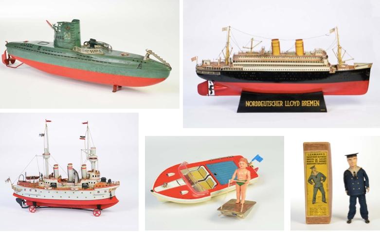 """U-Boot, ARNOLD, Startpreis: 270 EUR Schiff """"Columbus"""", MÄRKLIN, Startpreis: 14.900 EUR Boot mit Echtdampfantrieb, Startpreis: 29.800 EUR Boot Pitt 3006 + Flotano 3009, SCHUCO, Startpreis: 60 EUR Matrose, LEHMANN, Startpreis: 1.350 EUR"""