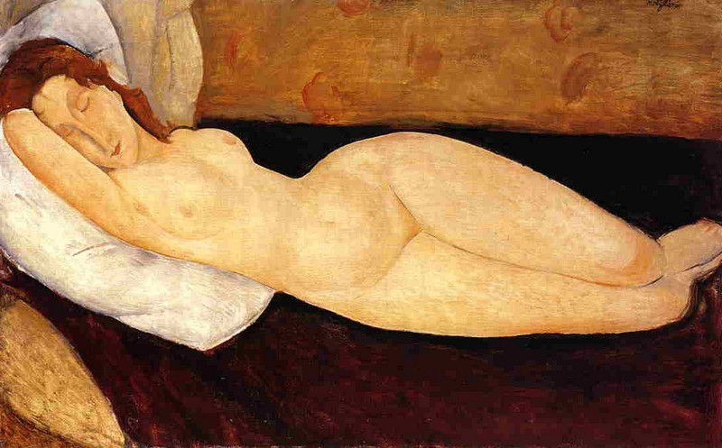 Amedeo Modigliani, Nu couché avec la tête reposant sur le bras droit, 1918 | Abb. via Fondation Modigliani
