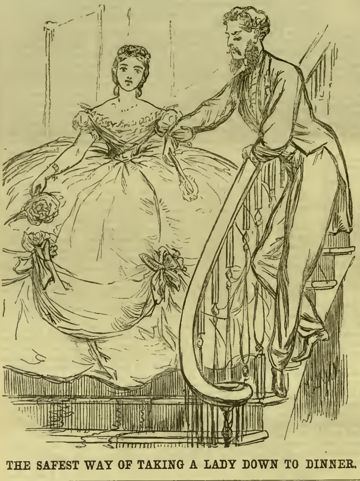Unknown Artist, 'The Safest Way of Taking a Lady Down to Dinner' from 'Punch Magazine', 1864. Photo: pioneerproject.org