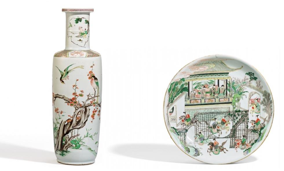 Famille verte porslin från Kangxiperioden (1662-1722) Vänster: Stor vas med fågel. Höger: Fat med Yang-krigare