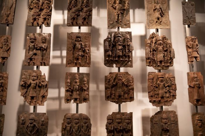 The Benin Bronzes that the British Museum has agreed to loan back to Nigeria. Image: Dan Kitwood/Getty Images