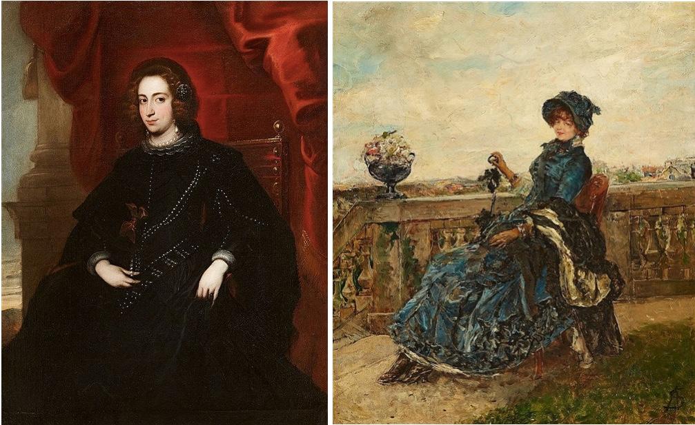 Links: JAN ROOS (1591 Antwerpen - 1638 Genua) zugeschrieben - Bildnis einer Genueser Adeligen, Öl/Lwd. Rechts: ALFRED STEVENS (1823 Brüssel - 1906 Paris) - Elegante Dame auf einer Terrasse, Öl/Holz, monogrammiert