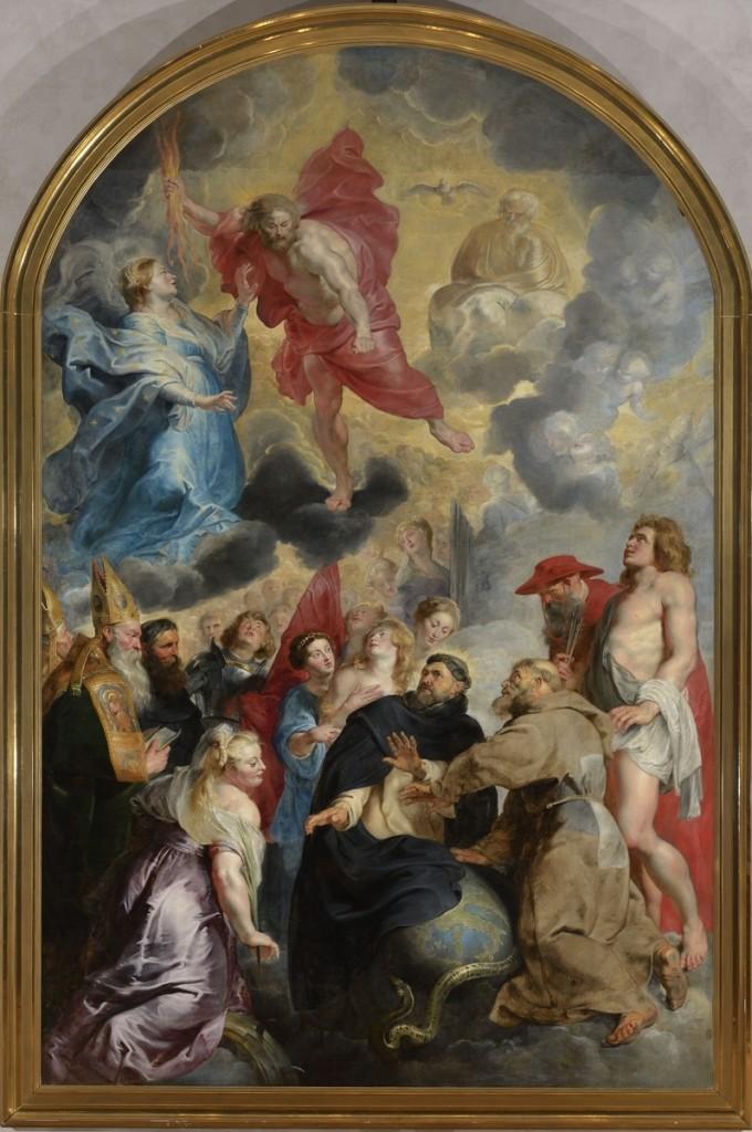 """Peter Paul Rubens, """"Santi Domenico e Francesco che salvano il mondo dalla rabbia di Cristo"""", 1618 circa, ora parte della collezione del Museo di Belle Arti di Lione."""