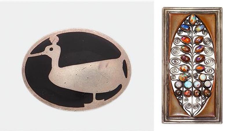Links: Koloman Moser, Brosche mit Ente, 1904 Rechts: Koloman Moser, Gürtelschließe, 1905 | Beide Abbildungen: Dorotheum