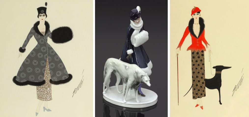 Links: ERTÉ (1892 St. Petersburg - 1990 Paris) - Elegante Dame mit Muff, Gauch/Papier, signiert | Mitte: PORZELLANFABRIK FRAUREUTH AG - Modedame mit Barsoi, um 1919 | Rechts: ERTÉ (1892 St. Petersburg - 1990 Paris) - Elegante Dame mit Barsoi, Gauch/Papier, signiert