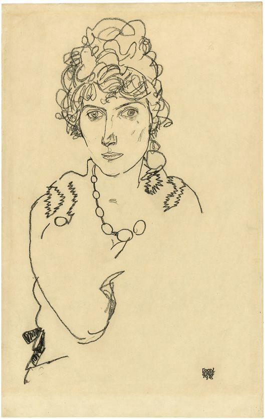 EGON SCHIELE (1890 Tulln – 1918 Wien) - Portrait Edith Schiele (Gattin des Künstlers), Ölkreide/Papier, signiert und datiert, 1918