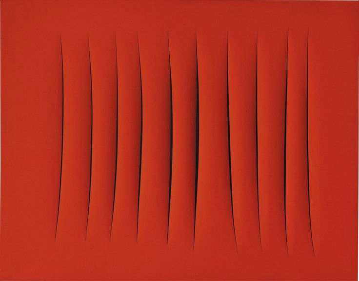 Lucio Fontana, Concetto Spaziale, Attese Signed, titled and inscribed è entrata la Lella/1+1 30/30 (o 30/38) on the reverse Waterpaint on canvas Sold at Sotheby's for £4 405 000 in 2015