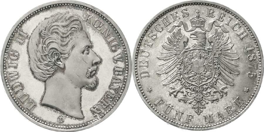 Bayern Ludwig II. 5 Mark 1875