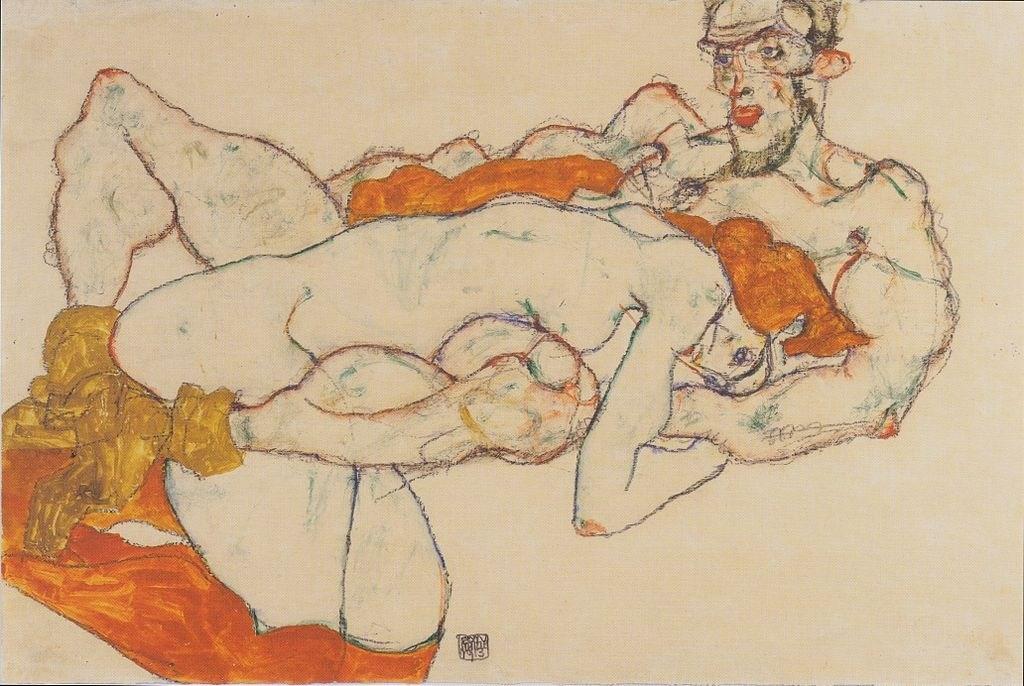 Egon Schiele, Lovers, 1913, probablement avec Wally, via Wikicommons