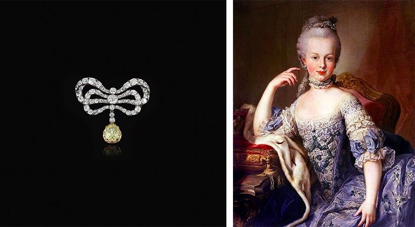 Links: Brosche mit weißen und 1 gelbem Diamant. Erzielte Preis: 2.115.000 CHF (Foto: ©Sotheby's) Rechts: Martin van Meytens d. J., Erzherzogin Maria Antonia, 1767-68
