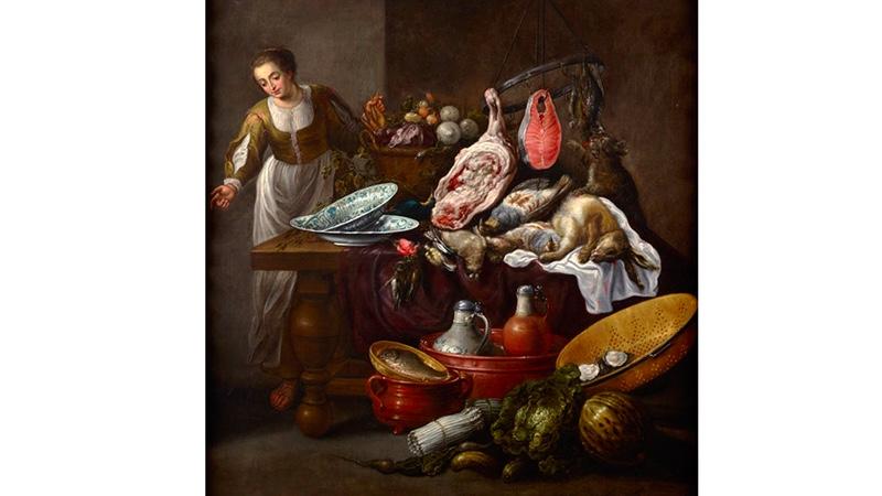 ADRIAEN VAN UTRECHT 1599 Antwerpen – 1652) zug. - Großes Küchenstillleben mit einer jungen Frau, Öl/Lwd.