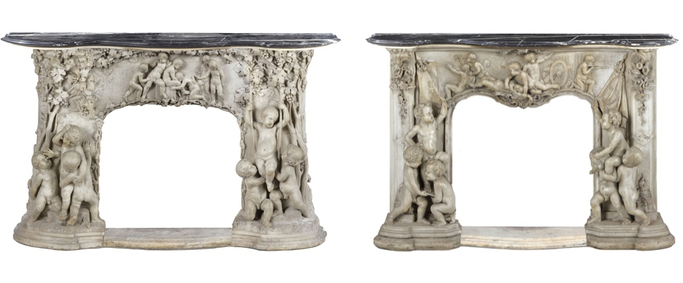 Two white marble fireplace claddings estimated at 3,000-4,000 euros each. Sold for 55,800.