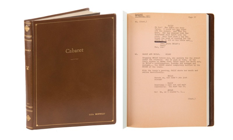 "Liza Minnelli's shooting script for ""Cabaret"". Photo: Profiles in History."