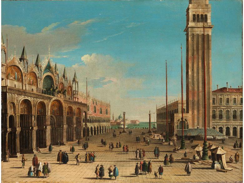 BERNARDO BELOTTO gen. CANALETTO (1721 Venedig – 1780 Warschau) - Vedute der Piazza San Marco in Venedig mit Dogenpalast und Campanile, Öl/Lwd., monogrammiert und datiert, 1742
