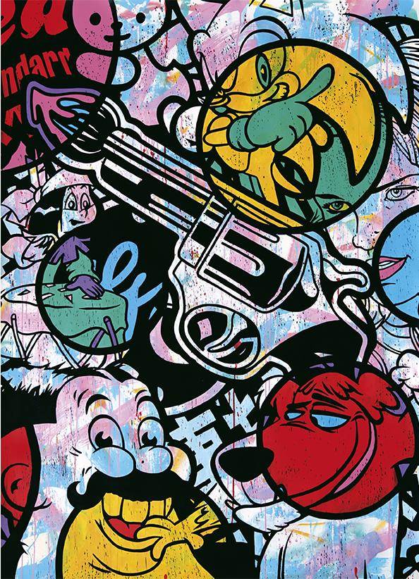 SPEEDY GRAPHITO (né en 1961) ART IS FIGHT, 2014 Technique mixte sur papier marouflé sur toile Signée, titrée et datée au dos, 179 X 130 CM, Vendu à 58 500 € Record du monde pour l'artiste