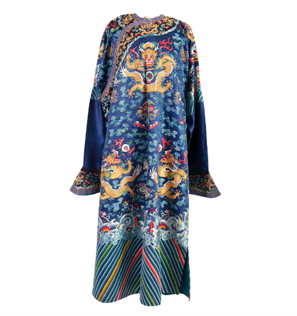 A Chinese Blue-ground Embroidered Nine-dragon Robe. Photo: Adam's