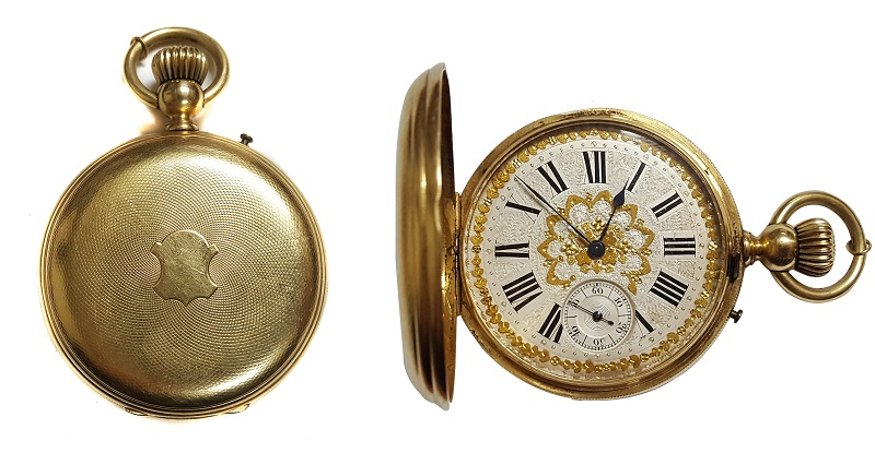 Reloj de bolsillo saboneta VÍCTOR JEANNOT en oro. En estado de marcha. (finales del S. XIX)