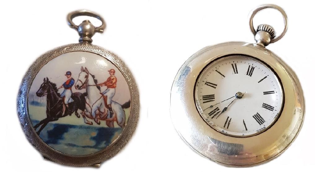 Links: Silberne Taschenuhr mit Emaillemalerei, Schweiz um 1870 Rechts: PATEK PHILIPPE für M.W. GALT & BRO WASHINGTON - Silberlepine, Schweiz 1869