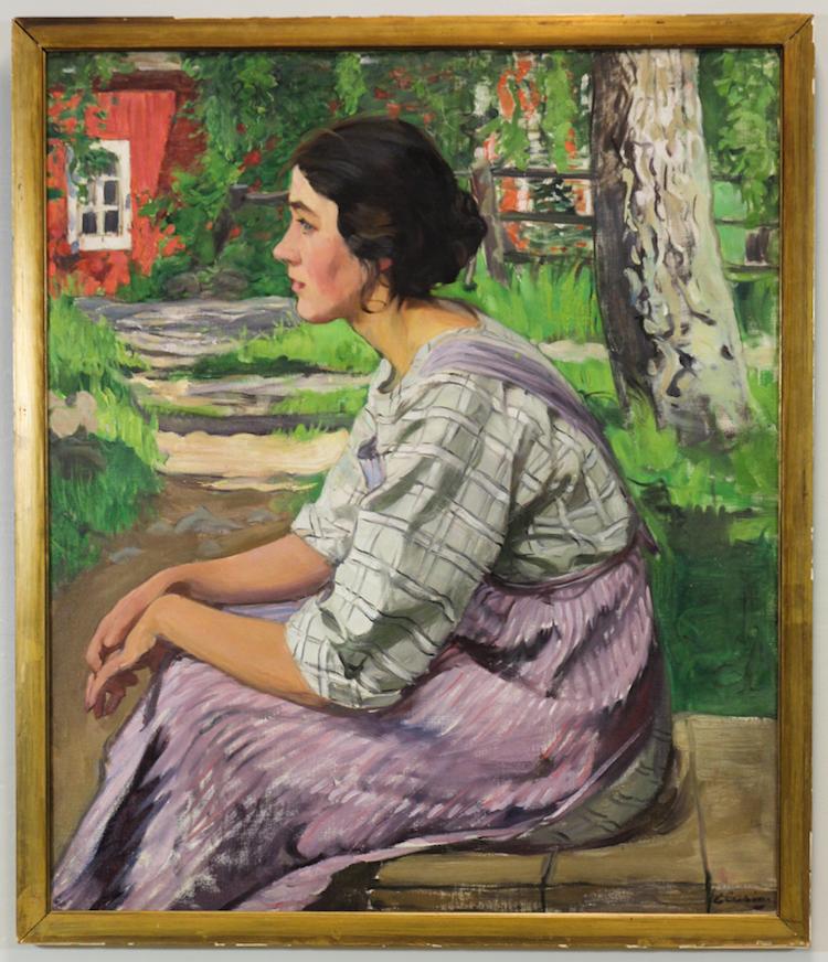 """Elsa Celsing. Flicka från Munktorp """"Ester"""". Olja på duk. Utrop: 25 000 SEK Auktionsbyrån Effecta"""
