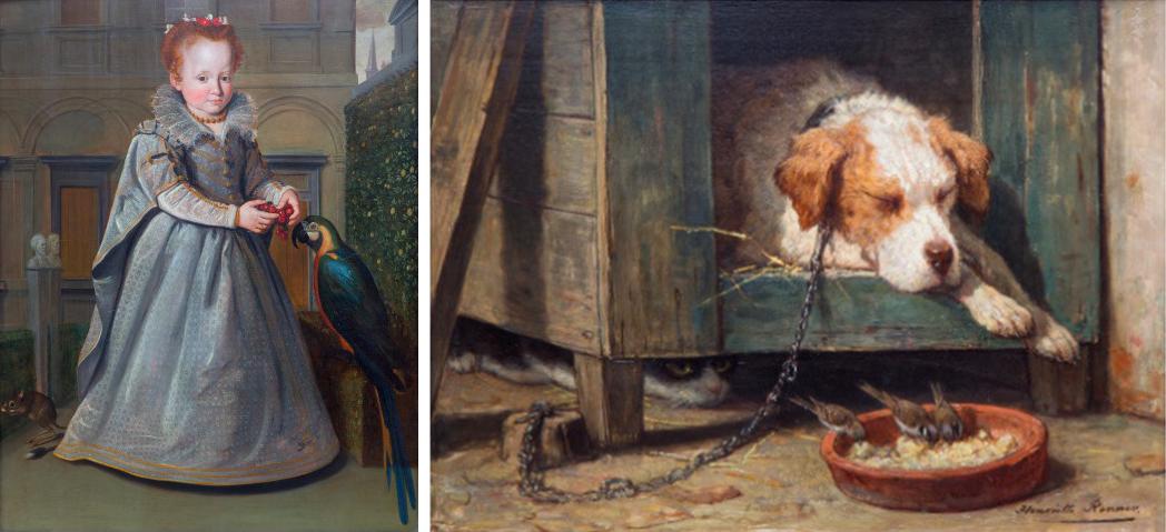 """Left : Santi di Tito (1536-1602) A full-length portrait of Lucrezia / Right : Henriette Ronner-Knip (1821-1909) """"Les parasites"""", images ©Venduehuis"""