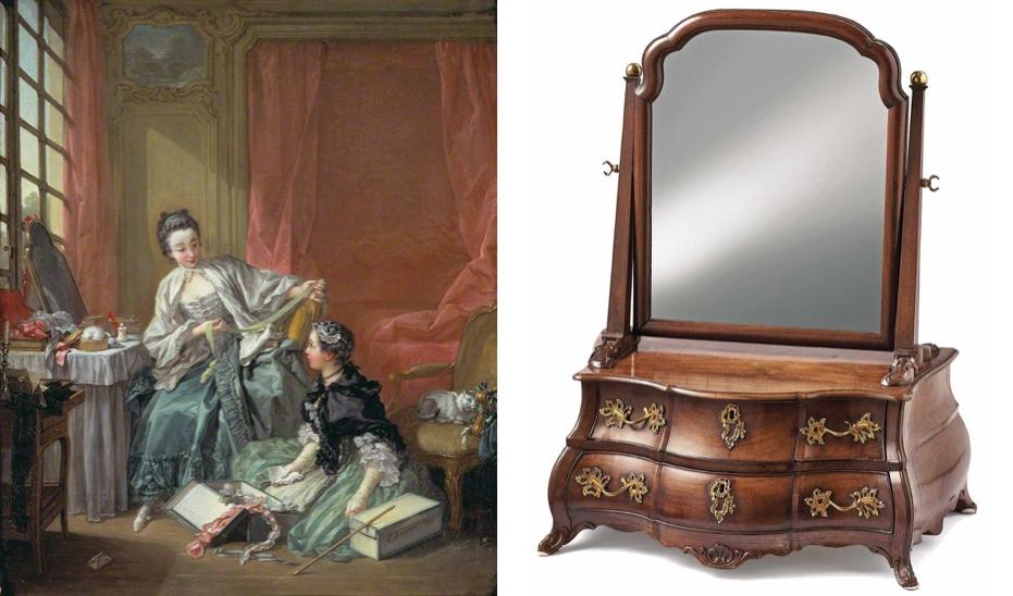 ABRAHAM ROENTGEN - Schminkkommödchen mit Spiegel und vier Schüben, Eiche und Mahagoni, Neuwied Mitte 18. Jahrhundert Schätzpreis: 14.000 EUR
