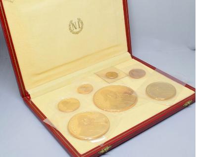 Set of seven gold medals minted by Monnaie de Paris