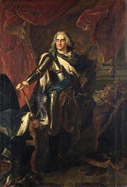August der Starke, Kurfürst von Sachsen und König von Polen (1670-1733) gründete 1710 die erste europäische Porzellanmanufaktur. Portait von Louis de Silvestre, Staatliche Kunstsammlungen Dresden, Gemäldegalerie Alte Meister