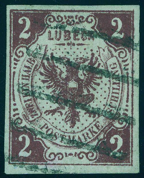 """LÜBECK - 2 Schilling dunkelbraunrot mit Inschrift """"2 EIN HALB"""", der legendäre LÜBECK-FEHLDRUCK Ausruf: 8.000 EUR"""