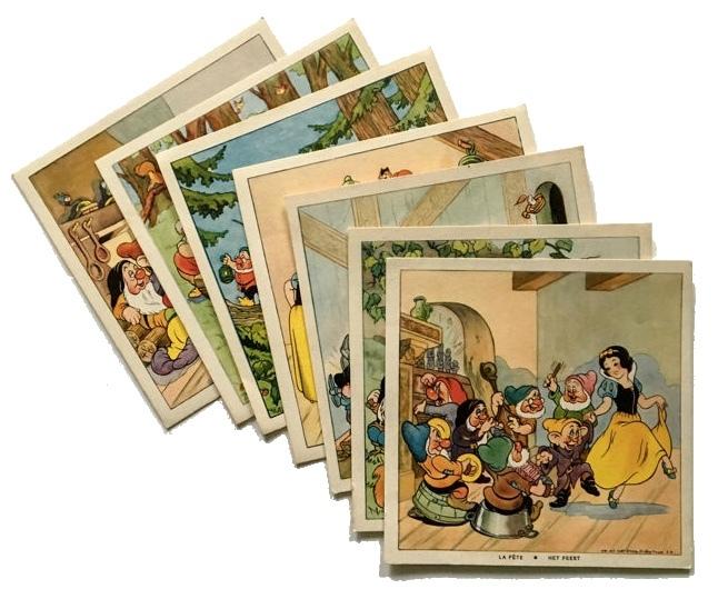 7 carteles publicitarios belgas de la compañía de jabón Cadum sobre Blancanieves (c. 1930)