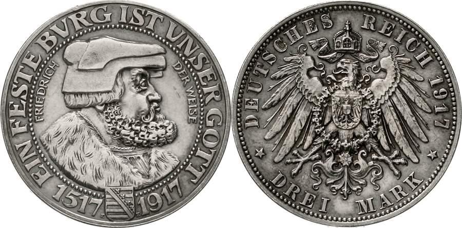 Sachsen Ernst August III. 3 Mark 1917. Seltenste Reichssilbermünze zum 400-jährigen Gedenken an die Reformation