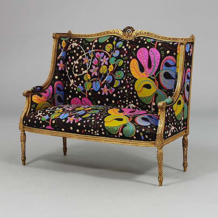 """If you can't afford a Josef Frank sofa from Svenskt Tenn or if you're tired of the old golden brown velvet fabric on the couch you inherited from Grandma you can follow in the footsteps of the previous owner of this Louis XVI sofa. Thanks to Josef Frank's """"Teheran"""" fabric you suddenly find yourself with an antique modern sofa. The estimate for this piece is $930 at Göteborgs Auktionsverk."""