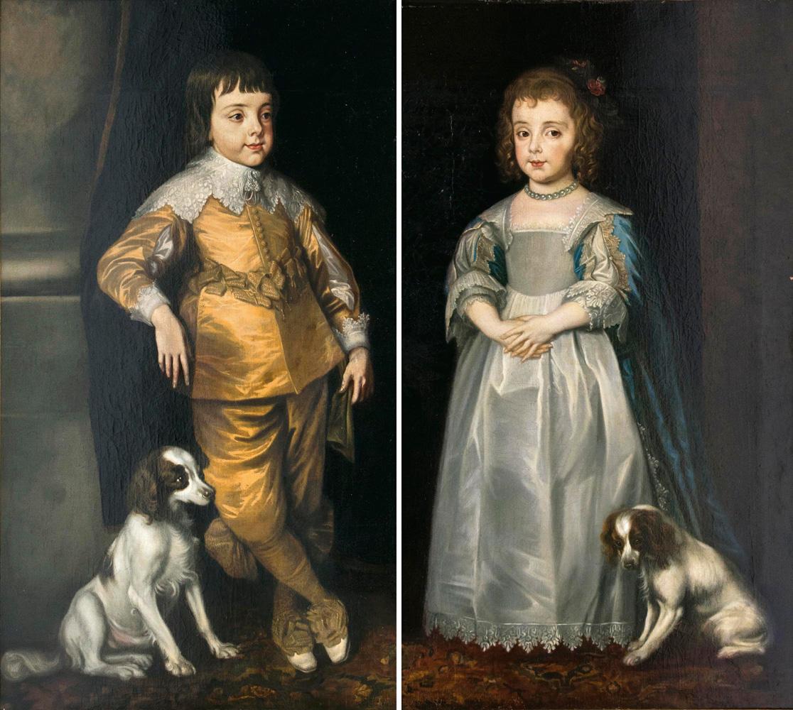 Englischer Portraitmaler tätig Mitte 17. Jh., Paar Gegenstücke: Charles II. und seine Schwester Mary als Kinder, Öl/Lwd. | Foto: Stahl