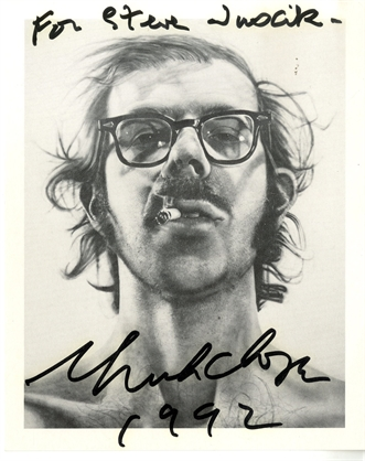 chuck-close-signed-and-dedicated-postcard-of-self-portrait-prints-and-multiples-offset-lithograph
