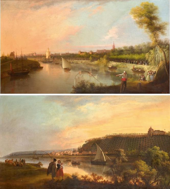 MANUEL BARRÓN Y CARRILLO (1814 - 1884) - Zwei Ansichten von Sevilla, Öl/Lwd., 140 x 80 cm, signiert und datiert, 1850 Startpreis: 36.000 EUR