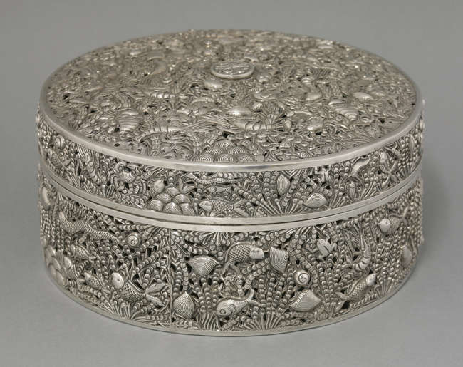 An exceptional pierced and engraved silver box and cover, c.1880, stamped De Jin, Zheng Yin, 21.8cm Sworders
