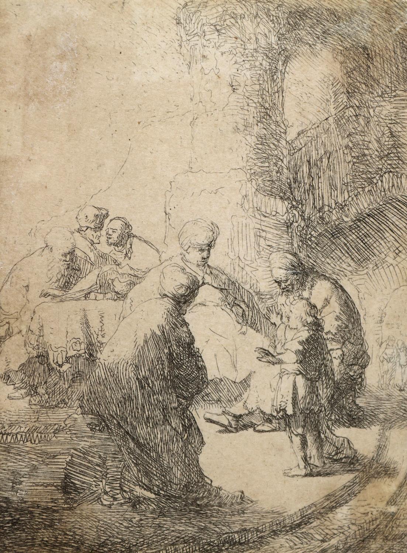 Rembrandt Harmensz. van Rijn (1606 Leiden - 1669 Amsterdam), Jesus unter den Schriftgelehrten (kleine Platte), 1630