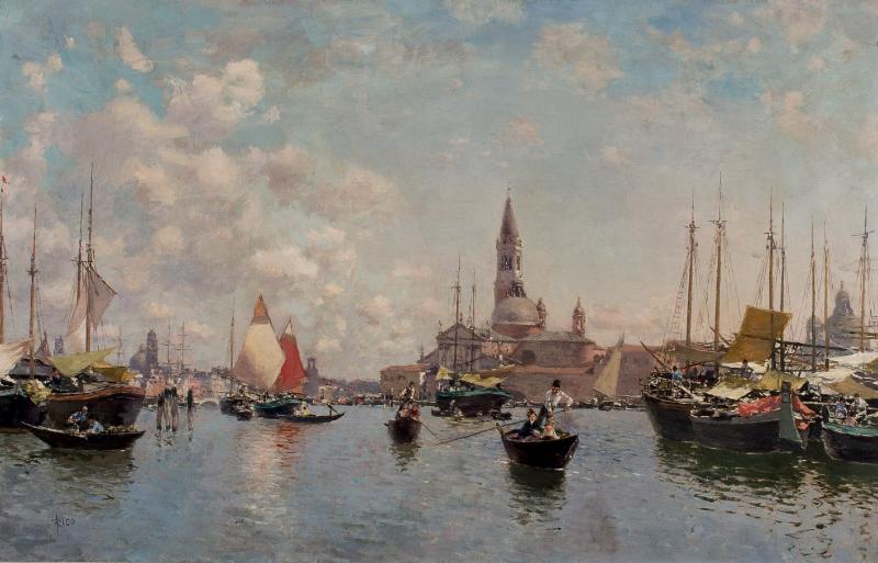 "Martín Rico y Ortega, ""Vy över Venedig"", Olja på duk. 46 x 72 cm. Utropspris: 170 574 SEK Dúran Subastas"