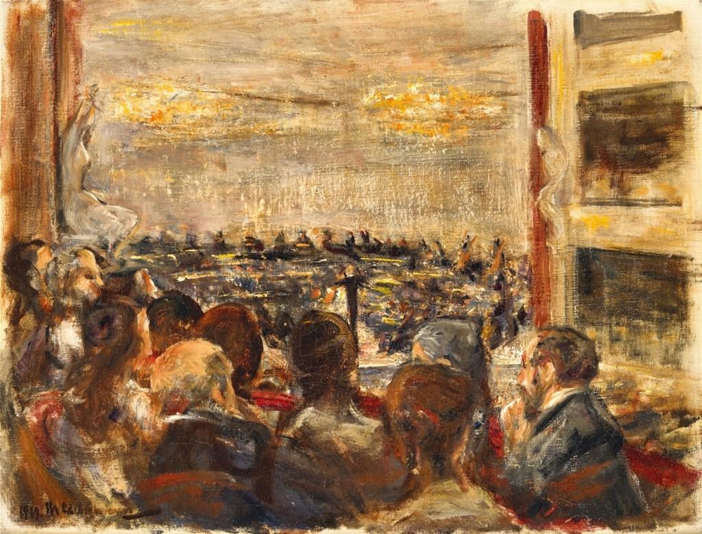 MAX LIEBERMANN (1847 - Berlin - 1935) - Konzert in der Oper, Öl/Lwd., 38,5 x 50,5 cm, signiert und datiert, 1919 Schätzpreis: 250.000-300.000 EUR