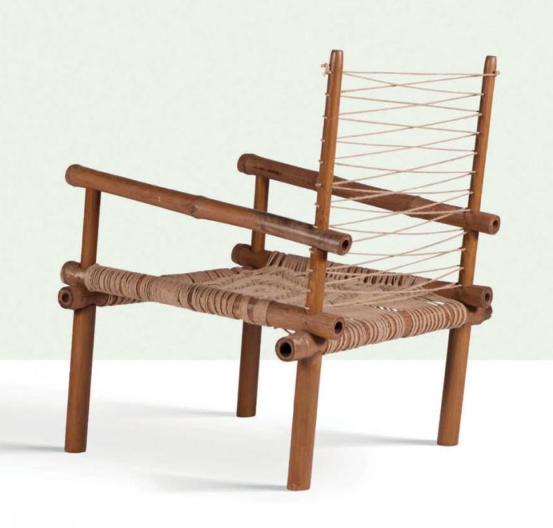 Pierre Jeanneret, rare bamboo chair, circa 1953. Photo: Aguttes.