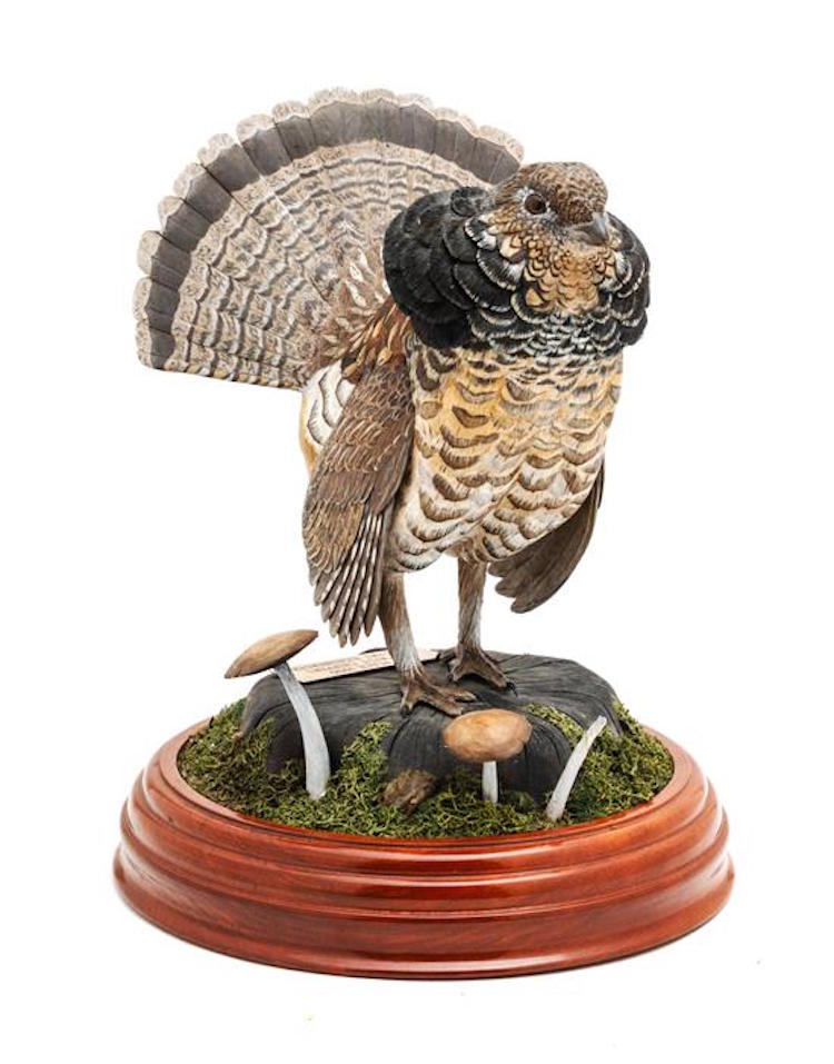 A Wood Carving of a Partridge, Gary Eigenberger. Estimate $ 200-400. Photo via Leslie Hindman Auctioneers