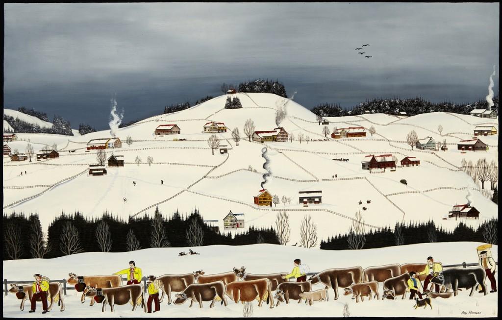 """ALBERT MANSER (1937 - 2011 Appenzell) - """"Winter im Appenzellerland"""", Öl/Hartfaserplatte, signiert"""