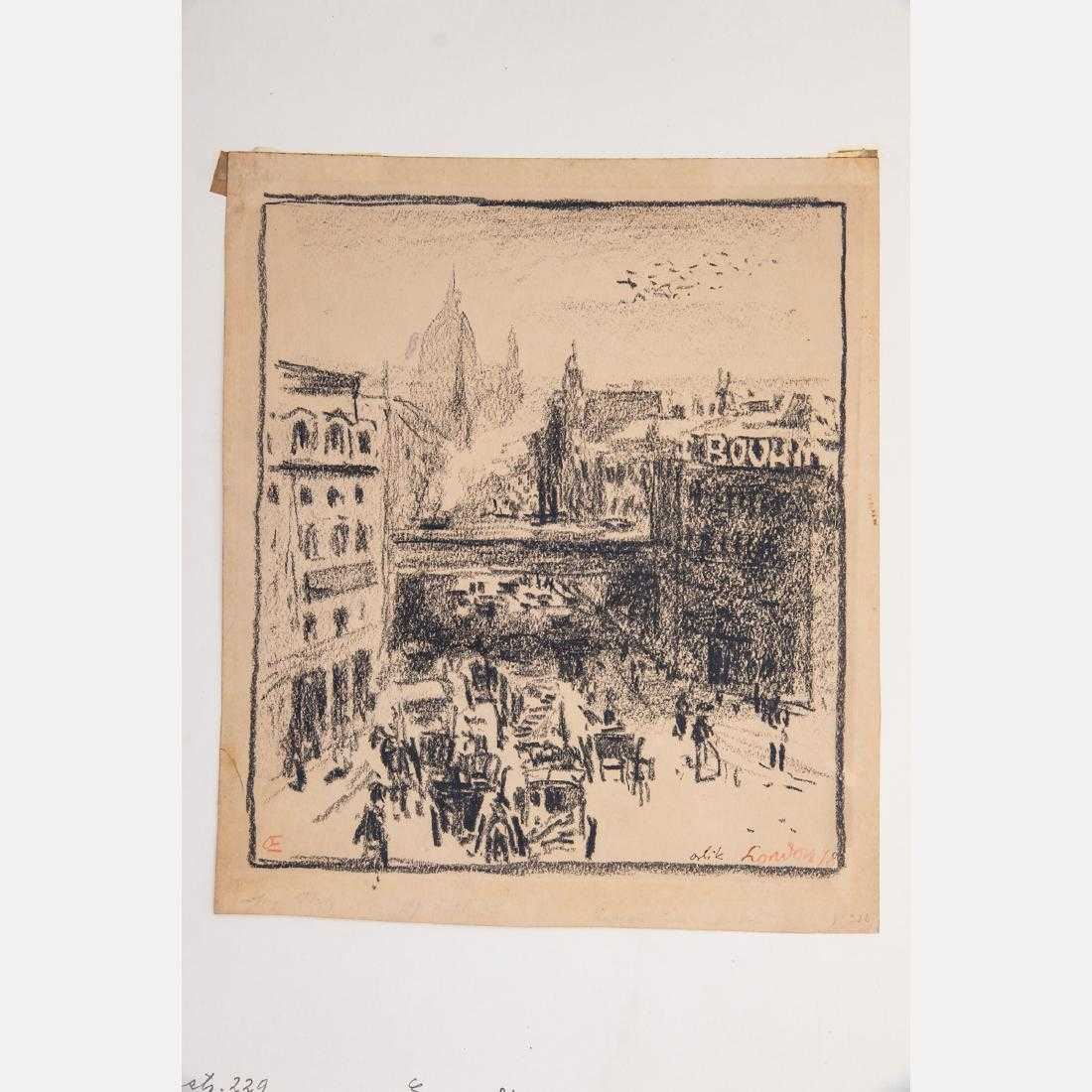 A selection of drawings by Emil Orlik (1870-1932), the Czech-born painter, etcher and lithographer, will include this charcoal on wove paper signed, dated and titled London 1898 (est. $300-$500).