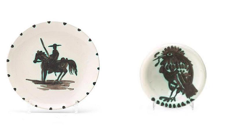 """PABLO PICASSO (1881 Málaga - 1973 Mougins) Links: Teller """"Picador"""", 1952 Rechts: Schale """"Oiseau au Vert"""", 1952"""